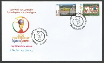North Cyprus Stamps SG 553-54 2002 Japan World Cup football - Official FDC