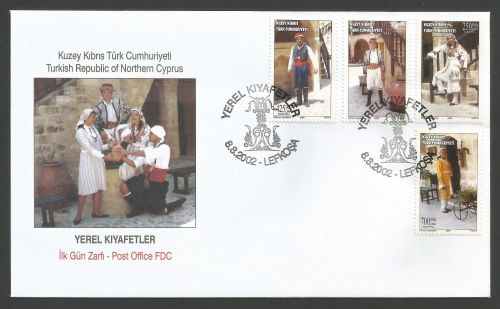 North Cyprus Stamps SG 555-58 2002 Costumes - Official FDC