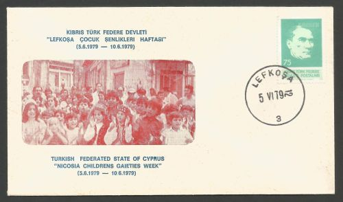 North Cyprus Stamps 1979 Cachet Nicosia Children - Unofficial Cover (k417)