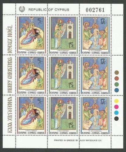 Cyprus Stamps SG 808-10 1991 Christmas - Sheetlet MINT