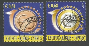 Cyprus Stamps SG 1182-83 2009 10th Anniversary of the Euro - CTO USED (k468)