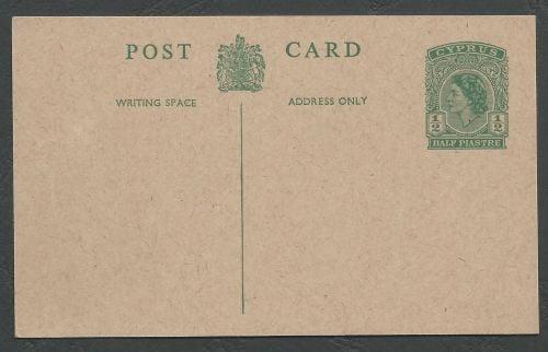 Cyprus Stamps 1953 A27 Type Half Piastre Queen Elizabeth II Postcard - Unus