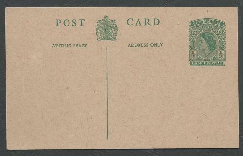 Cyprus Stamps 1953 A27 Type Half Piastre Queen Elizabeth II Postcard -  Unused (k436)