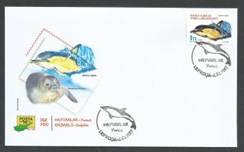 North Cyprus Stamps SG 2017 (a) Animals Dolphin Delphinus delphis - Official FDC