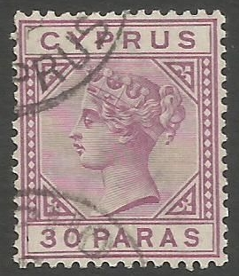 Cyprus Stamps SG 032 1892 30 Paras - USED (k493)