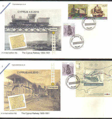 Cyprus Stamps SG 1222-23 and MS 1224 2010 The Cyprus Railway - Cachet Unoff