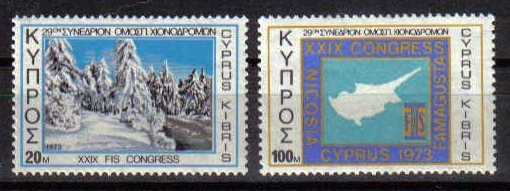 Cyprus Stamps SG 401-02 1973 Internation Ski Federation Congress - MINT