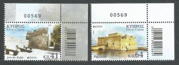 Cyprus Stamps SG 1420-21 2017 Europa Castles - Control numbers MINT
