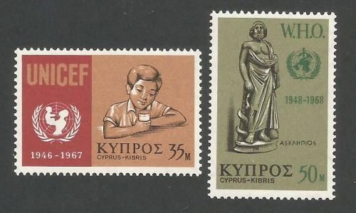 Cyprus stamps SG 322-23 1968 UNICEF WHO - MLH