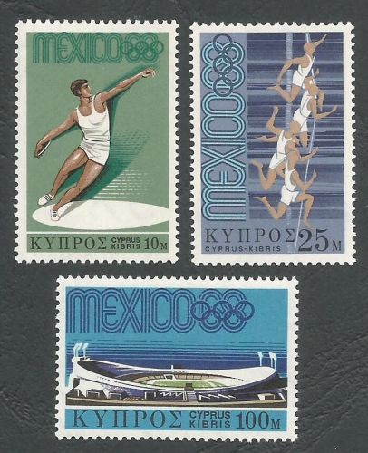 Cyprus stamps SG 324-26 1968 Mexico Olympic games - MINT