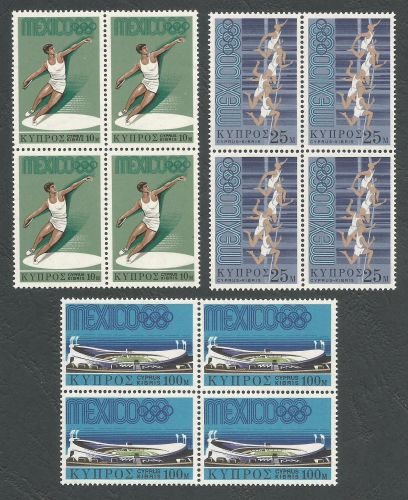 Cyprus stamps SG 324-26 1968 Mexico Olympic games - Blocks of 4 MINT