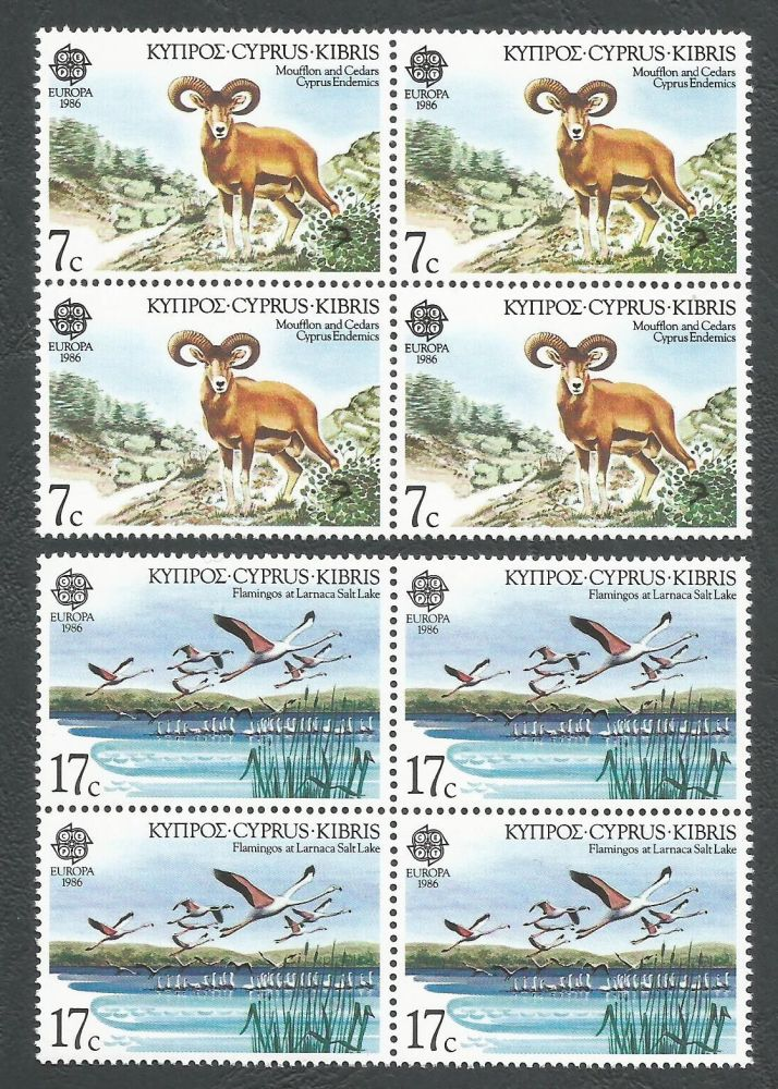 Cyprus Stamps SG 678-79 1986 Europa Nature Conservation - Block of 4 MINT