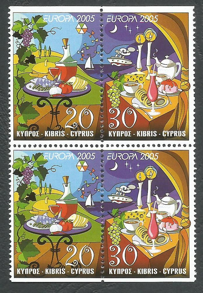 Cyprus Stamps SG 1096-97 2005 Europa Gastronomy - Booklet pane MINT