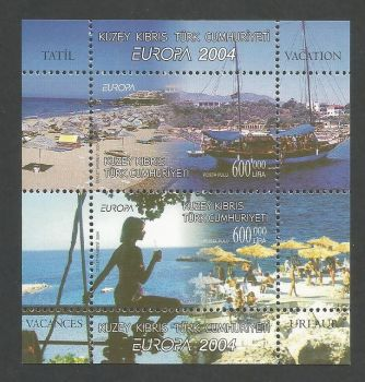 North Cyprus Stamps SG 0588 MS 2004 Europa Holidays - Perforated MINT