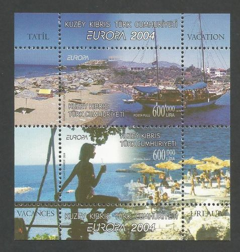 North Cyprus Stamps SG 588 MS 2004 Europa Holidays - Perforated MINT