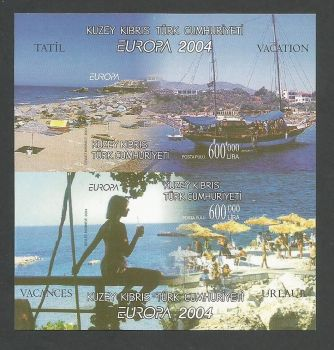 North Cyprus Stamps SG 0588a MS 2004 Europa Holidays - Imperforate MINT