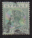 Cyprus Stamps SG 016a 1882 Half Piastre - Used (d179)