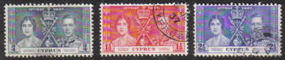 Cyprus Stamps SG 148-50 1937 Coronation - USED (d175)