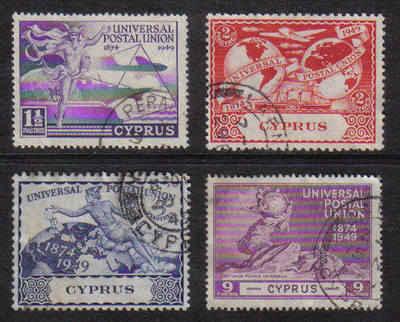 Cyprus Stamps SG 168-71 1949 KGVI Universal Postal Union - USED (b054)