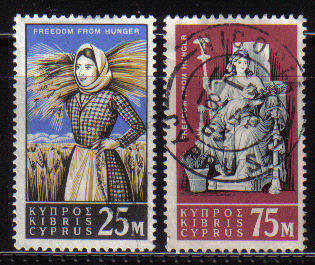 Cyprus Stamps SG 227-28 1963 Freedom from hunger - USED (b124)