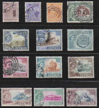 Cyprus Stamps SG 173-85 1955 Queen Elizabeth II Definitives Part set - USED (c223)