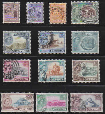 Cyprus Stamps SG 173-85 1955 Queen Elizabeth II Definitives Part set - USED