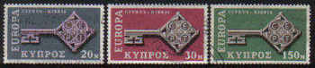 Cyprus Stamps SG 319-21 1968 Europa key - USED (c728)