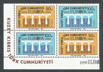 North Cyprus Stamps SG 148-49 1984 Europa Bridge - Both Pairs MINT (k513)