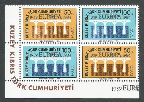 North Cyprus Stamps SG 148-49 1984 Europa Bridge - Both Pairs MINT (k513)