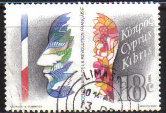 Cyprus Stamps SG 744 1989 French Revolution - USED (c329)