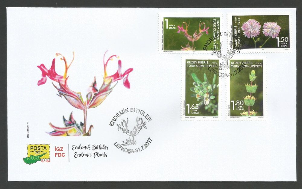 2017 (d) North Cyprus Stamps Plants Off FDC
