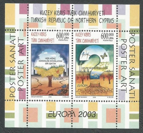 North Cyprus Stamps SG 0569 MS 2003 Europa Poster Art - MINT