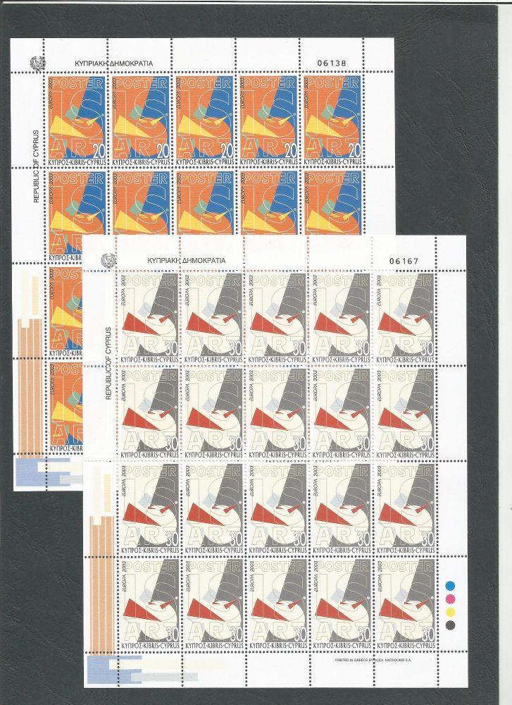 Cyprus Stamps SG 1051-52 2003 Europa Poster Art - Full sheet MINT