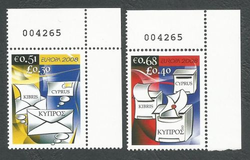 Cyprus Stamps SG 1162-63 2008 Europa The Letter Control numbers - MINT