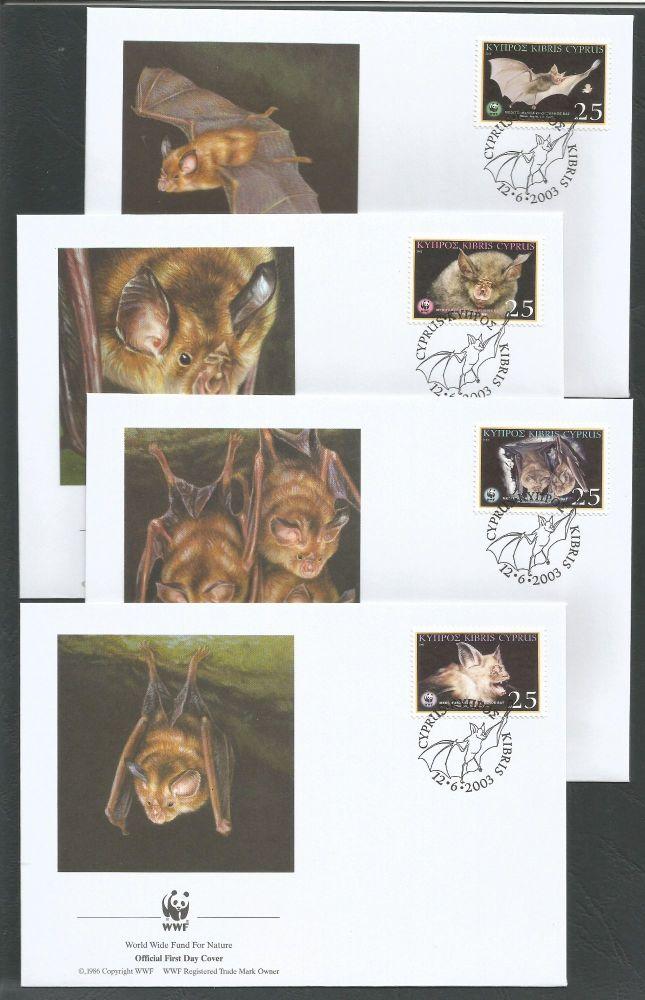 Cyprus Stamps SG 1053-56 2003 Mediterranean Horseshoe Bat WWF - Unofficial