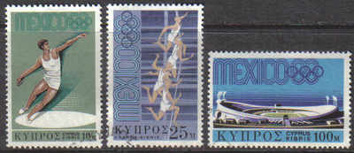 Cyprus Stamps SG 324-26 1968 Mexico Olympic games - USED (d259)