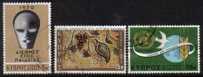 Cyprus Stamps SG 351-53 1970 Anniversaries and Events - USED (d243)