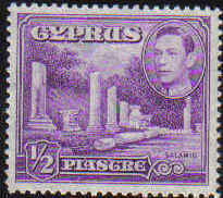 Cyprus Stamps SG 152a 1938 1/2 Piastre (violet) - MINT