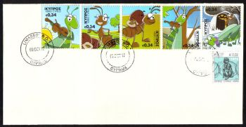 Cyprus Stamps SG 1281-85 2012 Aesops Fables The Cricket and the Ant - Unofficial FDC (g918)