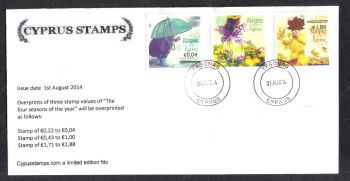 "Cyprus Stamps SG 1327-29 2014 Overprints of ""The four seasons"" stamps - Cachet Unofficial FDC (h875)"