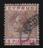 Cyprus Stamps SG 081 1915 Nine Piastres KGV - USED (d309)