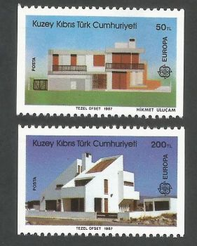 North Cyprus Stamps SG 210a-11a 1987 Europa Architecture From Booklet seperated - MINT