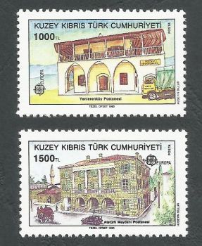 North Cyprus Stamps SG 275-76 1990 Europa Post office buildings - MINT