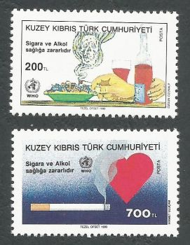 North Cyprus Stamps SG 273-74 1990 Smoking Cigarette and Heart - MINT