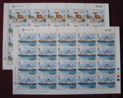 Cyprus Stamps SG 678-79 1986 Europa Nature Conservation - Full sheet MINT (