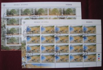 Cyprus Stamps SG 969-70 1999 Europa parks and gardens - Full sheet CTO USED (k606)