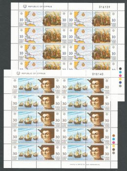 Cyprus Stamps SG 818-21 1992 Europa Discovery of America - Full sheets MINT (k607)