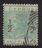 CYPRUS STAMPS SG 025 1882 1/2 on 1/2 - USED (d369)