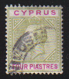 Cyprus Stamps SG 079 1912 Four Piastres - USED (d384)