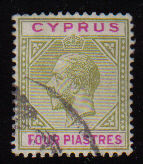 Cyprus Stamps SG 079 1912 Four Piastres - USED (d385)
